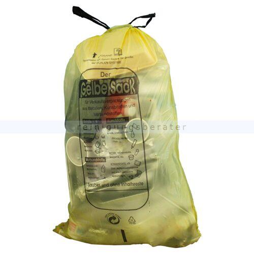 ReinigungsBerater Gelber Sack, der gelbe Müllsack 60 L Stärke: ca. 15 my HDPE, 13 Stück/Rolle, 620 x 880 mm