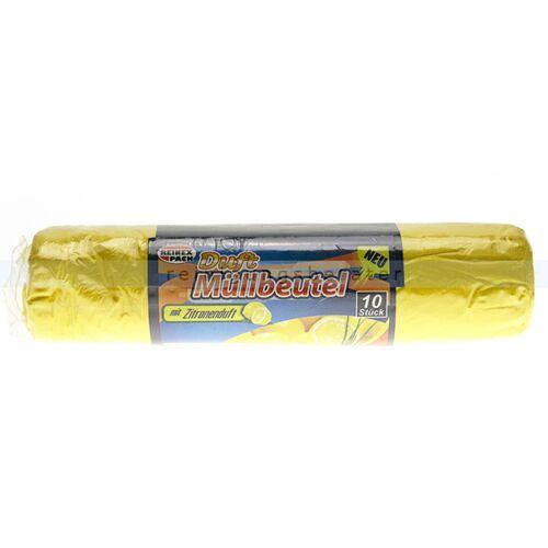 Reinex Müllbeutel Reinex Duft Müllsack Zitronenduft 60 L 10 Stück, mit dezentem Duft, Stärke 9,5 my