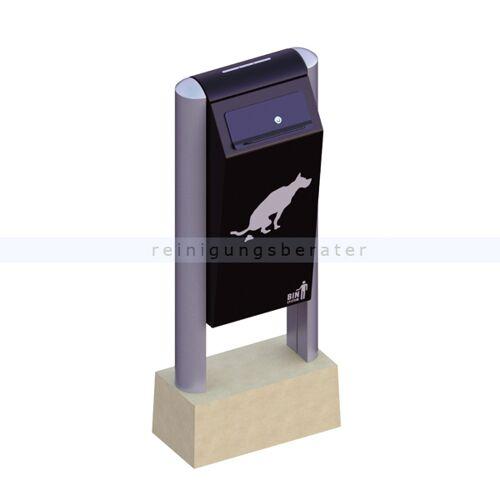 BINsystem Hundetoilette schwarz 60 L VB 711604 robuster Abfalleimer, verzinkter pulverbeschichteter Stahl