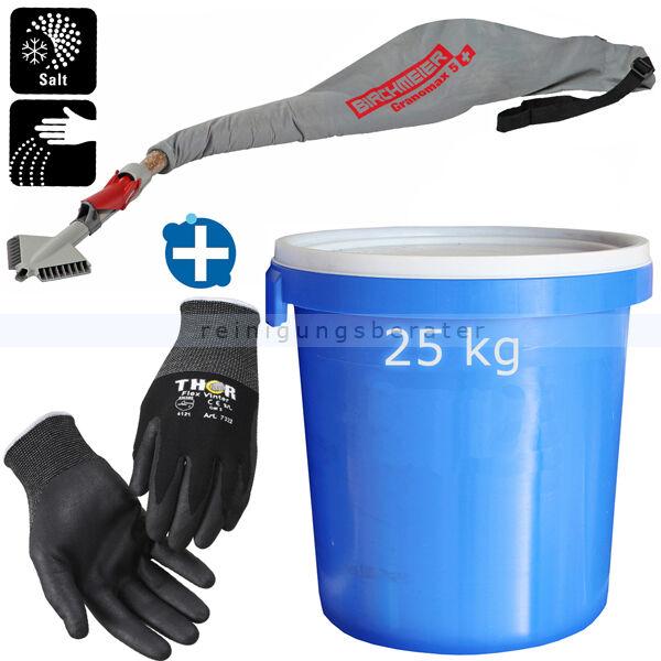 ReinigungsBerater Streu Winterset 3 teilig im Sparset 4 inklusive Streugerät, Auftaugranulat, Thermo Handschuhe