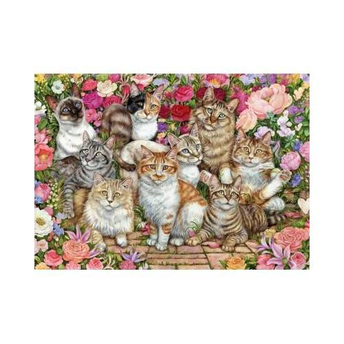Falcon Floral Cats 1000 Teile Puzzle Jumbo-11246
