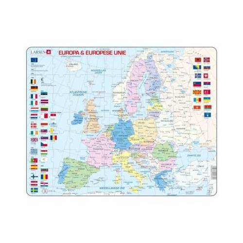 Larsen Rahmenpuzzle - Europa & Europese Unie (Holländisch) 70 Teile Puzzle Larsen-K63-NL