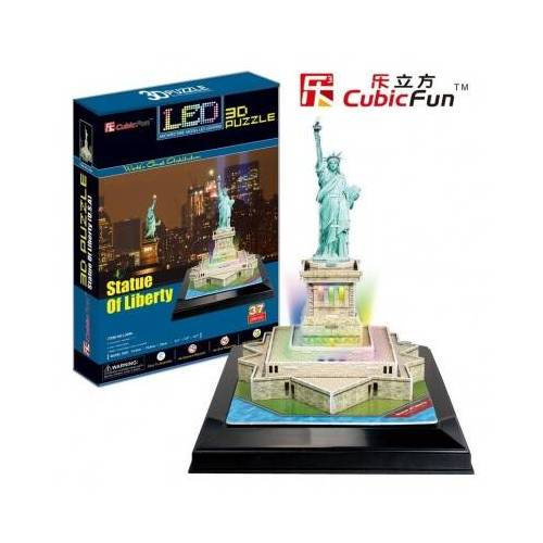 Cubic Fun Puzzle 3D mit LED - Freiheitsstatue 37 Teile Puzzle Cubic-Fun-L505H