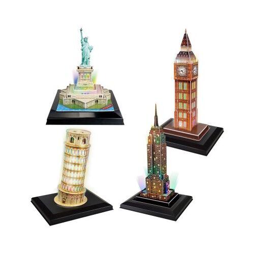 Cubic Fun 4 3D Puzzles - Set LED Towers 118 Teile Puzzle Cubic-Fun-Set-LED-Towers