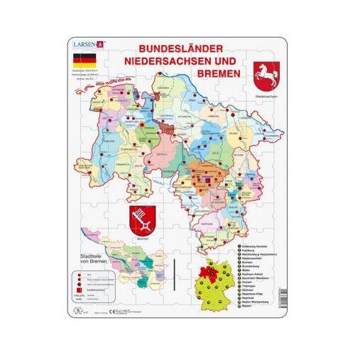 Larsen Rahmenpuzzle - Bundesland: Bremen and Niedersachen 70 Teile Puzzle Larsen-K27-DE