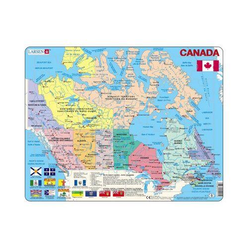 Larsen Rahmenpuzzle - Kanada (auf Französisch und Englisch) 48 Teile Puzzle Larsen-K11-V1