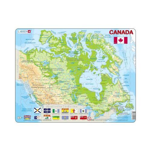 Larsen Rahmenpuzzle - Kanada (auf Französisch und Englisch) 100 Teile Puzzle Larsen-K19-V1