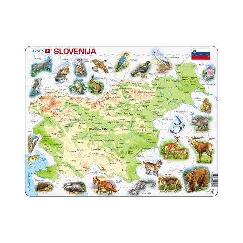 Larsen Rahmenpuzzle - Slowenien (auf Slowenisch) 65 Teile Puzzle Larsen-K25-SI