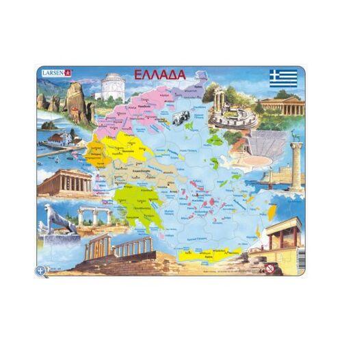 Larsen Rahmenpuzzle - Griechenland (auf Griechisch) 70 Teile Puzzle Larsen-K54-GR