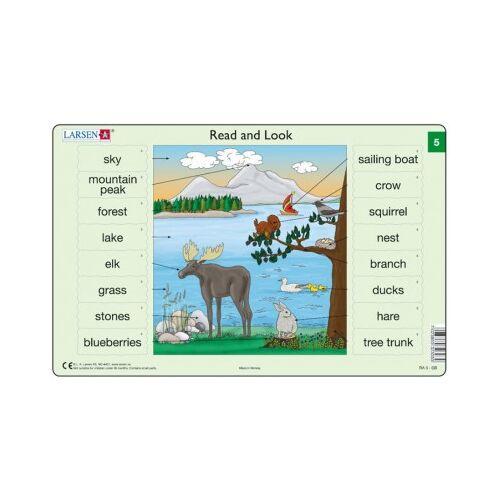 Larsen Rahmenpuzzle - Read and Look 05-06 (auf Englisch) 16 Teile Puzzle Larsen-RA03-EN-5-6