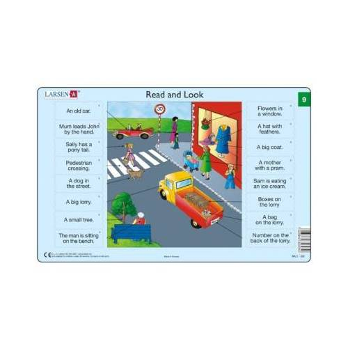 Larsen Rahmenpuzzle - Read and Look 09-10 (auf Englisch) 16 Teile Puzzle Larsen-RA05-EN-9-10