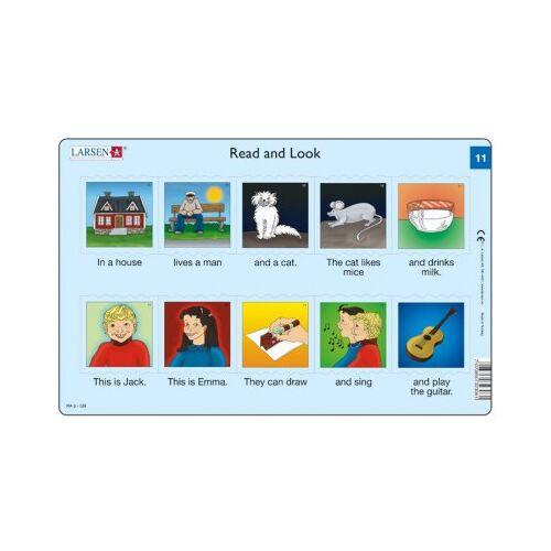 Larsen Rahmenpuzzle - Read and Look 11-12 (auf Englisch) 10 Teile Puzzle Larsen-RA06-EN-11-12