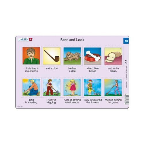 Larsen Rahmenpuzzle - Read and Look 13-14 (auf Englisch) 10 Teile Puzzle Larsen-RA07-EN-13-14