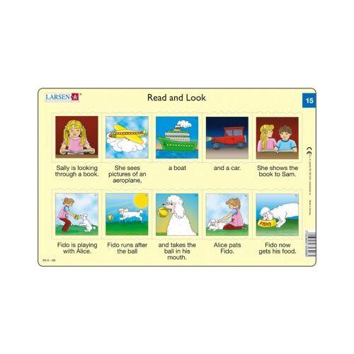 Larsen Rahmenpuzzle - Read and Look 15-16 (auf Englisch) 10 Teile Puzzle Larsen-RA08-EN-15-16