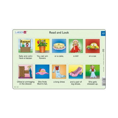 Larsen Rahmenpuzzle - Read and Look 17-18 (auf Englisch) 10 Teile Puzzle Larsen-RA09-EN-17-18