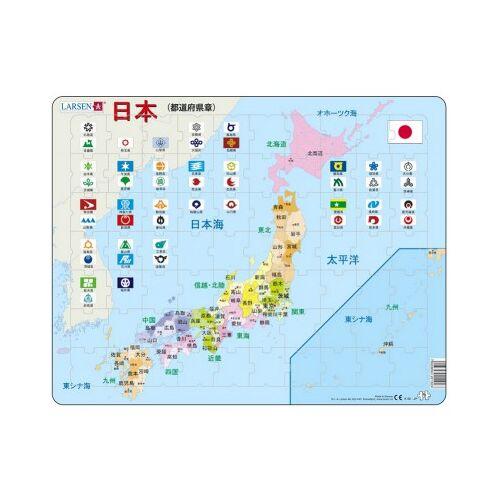 Larsen Rahmenpuzzle - Japan (auf Japanisch) 70 Teile Puzzle Larsen-K92-JP