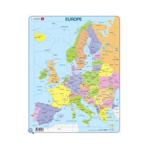 Larsen Rahmenpuzzle - Europa (auf Englisch) 37 Teile Puzzle Larsen-A8-GB