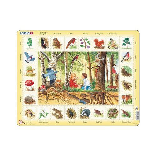 Larsen Rahmenpuzzle - Im Wald (auf Englisch) 48 Teile Puzzle Larsen-NA4-GB