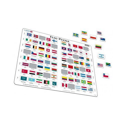 Larsen Rahmenpuzzle - Flaggen der Welt (auf Englisch) 80 Teile Puzzle Larsen-L2-GB