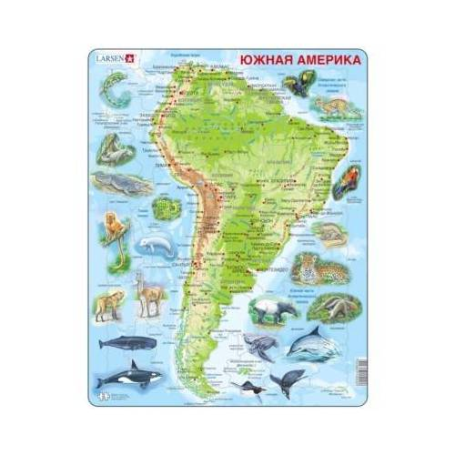 Larsen Rahmenpuzzle - Südamerika (auf Russisch) 65 Teile Puzzle Larsen-A25-RU