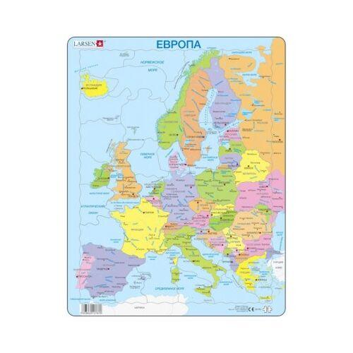 Larsen Rahmenpuzzle - Europa (auf Russisch) 37 Teile Puzzle Larsen-A8-RU
