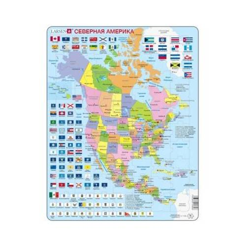 Larsen Rahmenpuzzle - Nordamerika (auf Russisch) 70 Teile Puzzle Larsen-K17-RU