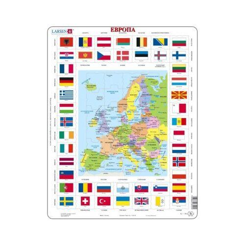 Larsen Rahmenpuzzle - Europa (auf Russisch) 70 Teile Puzzle Larsen-KL1-RU