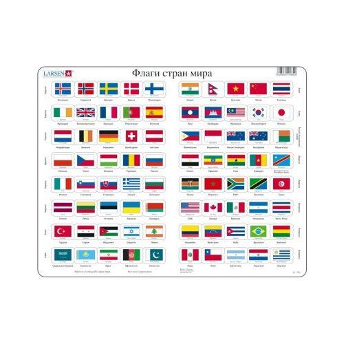 Larsen Rahmenpuzzle - Flaggen (auf Russisch) 80 Teile Puzzle Larsen-L2-RU
