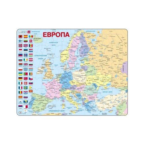 Larsen Rahmenpuzzle - Europa (auf Russisch) 70 Teile Puzzle Larsen-A35-RU