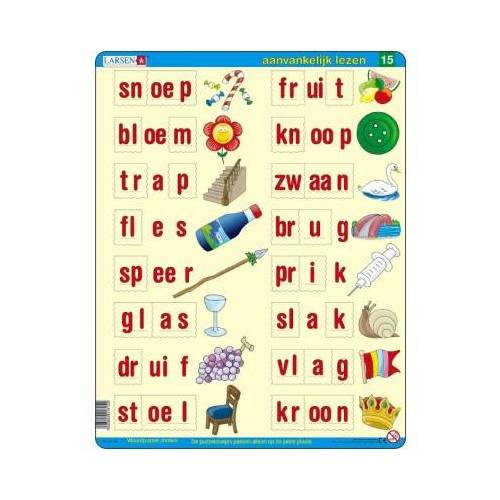Larsen Rahmenpuzzle - Lerne Niederländisch zu lesen 5 29 Teile Puzzle Larsen-SC15-NL