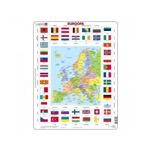 Larsen Rahmenpuzzle - Karte und Flaggen von Europa (Estnisch) 70 Teile Puzzle Larsen-KL1-EE