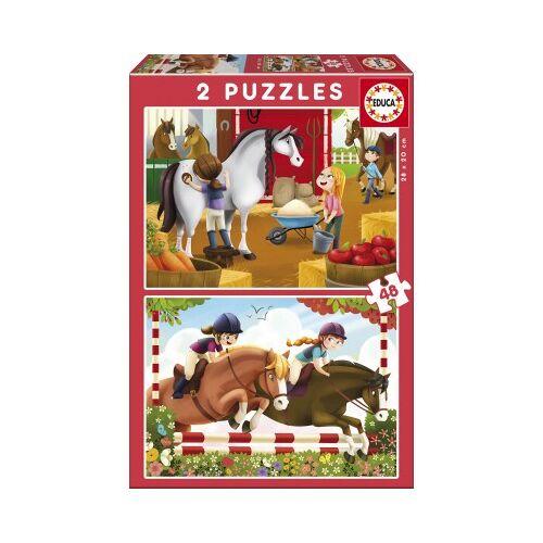 Educa 2 Puzzles - Pferde 48 Teile Puzzle Educa-17150