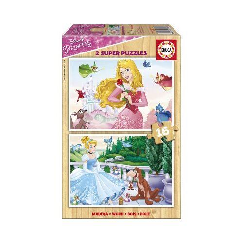 Educa 2 Holzpuzzles - Disney Princess 16 Teile Puzzle Educa-17163