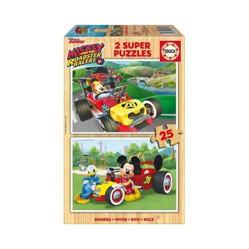 Educa 2 Holzpuzzles - Mickey and The Roadster Racers 25 Teile Puzzle Educa-17234