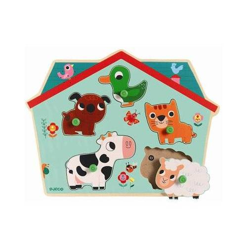 Djeco Holz-und Musical Puzzle - Ouaf Woof 5 Teile Puzzle Djeco-01707