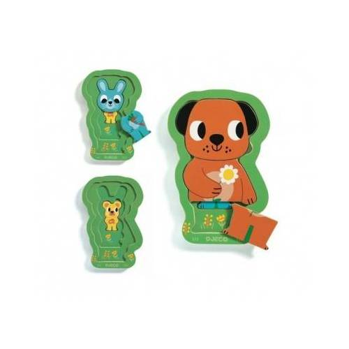 Djeco Holzpuzzle - Charly and Co 6 Teile Puzzle Djeco-01487