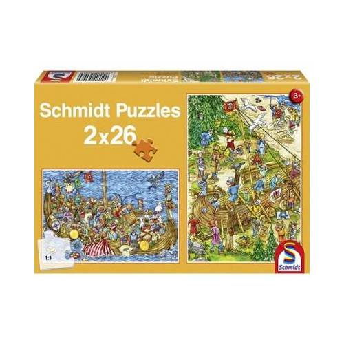 Schmidt Spiele 2 x 26 Teile Puzzle - Bei den Vikingern 26 Teile Puzzle Schmidt-Spiele-56008