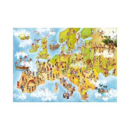 DToys Cartoon Collection - Europakarte 1000 Teile Puzzle Deico-Games-76120