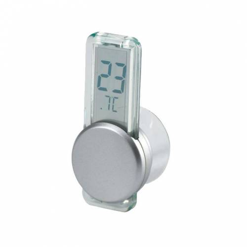 LCD Thermometer mit Saugnapf silber
