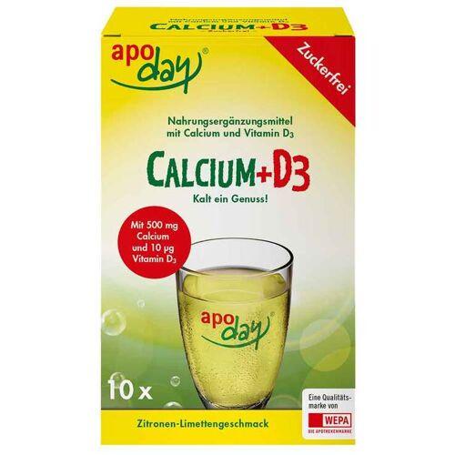 Apoday Calcium + D3 Zitrone-Limette zuckerfrei Pulver