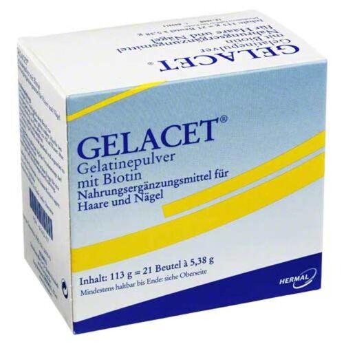 Gelacet Gelatinepulver mit Biotin im Beutel