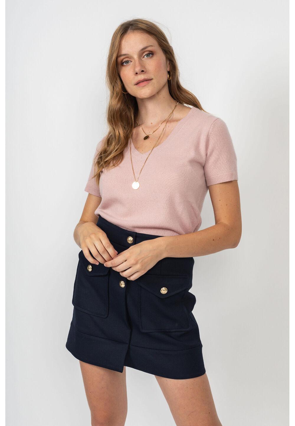 Perfect Cashmere Feinstrick-Shirt, Kaschmir, Kurzarm, V-Ausschnitt rosa