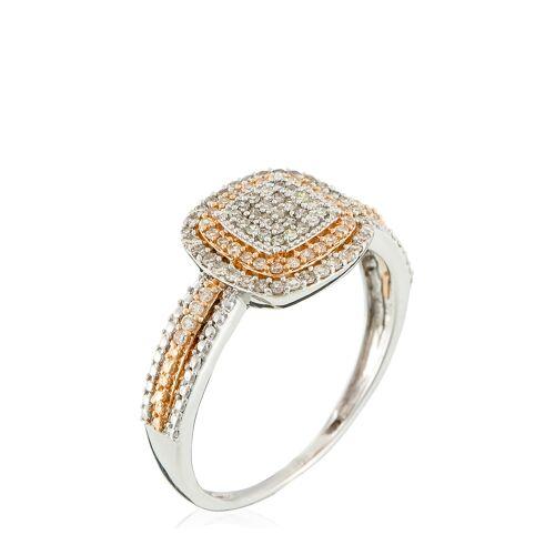 Diamanta Ring, 375 Gelb-/Weißgold, Diamant bunt