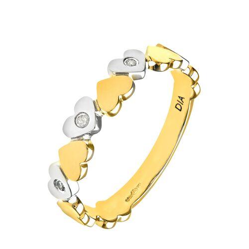 Diamant PUR Ring, 375 Gelb- und Weißgold, Diamant