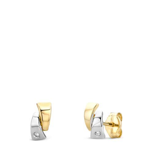 Diamant PUR Ohrstecker, 585 Gelb-/Weißgold, Diamant bunt