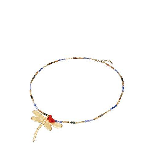 Pinto Saint Tropez Anhänger + Halskette, Naturstein, Kristall gold