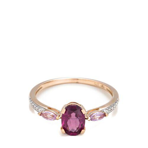 Diamanta Ring, 375 Roségold, Diamant, Saphir, Rhodolith