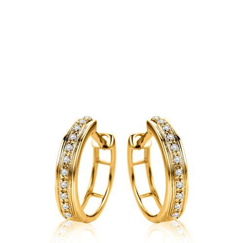 Diamant Exquis Creolen, 375 Gelbgold, Diamant