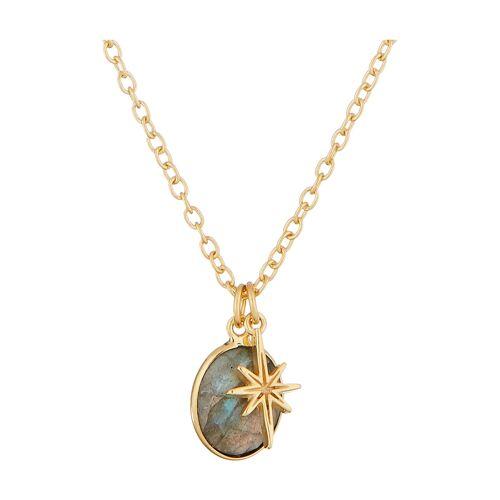 Moonstone Anhänger + Halskette, Labradorit gold