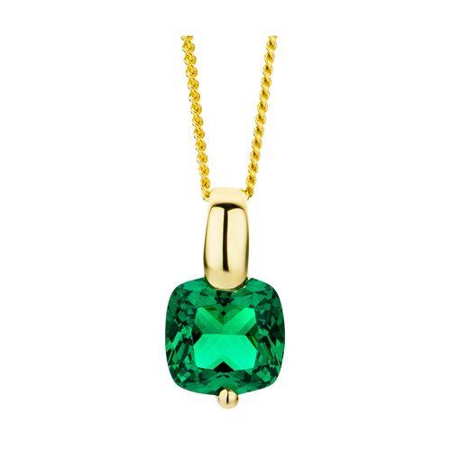 Revoni Anhänger + Halskette, 375 Gelbgold, Smaragd